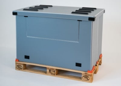 Alternative zu faltbaren Gitterboxen und Gitteraufsatzrahmen für Europaletten | Holzpalette wird zum Transportbehälter für lose Gegenstände