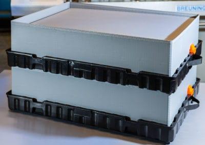 Kleinladungsträger KLT mit Gefache klappbar und in variabler Höhe | Volumenreduzierung