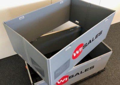 Ergonomischer Transportbehälter der bis zu 40% volumenreduziert werden kann